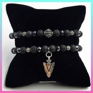 Lava rock oil diffuser silver arrow bracelets set